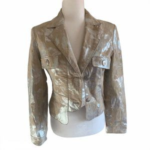 Hot Kiss Metallic & Suede Crop Jacket S
